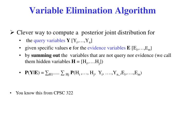 Variable Elimination Algorithm