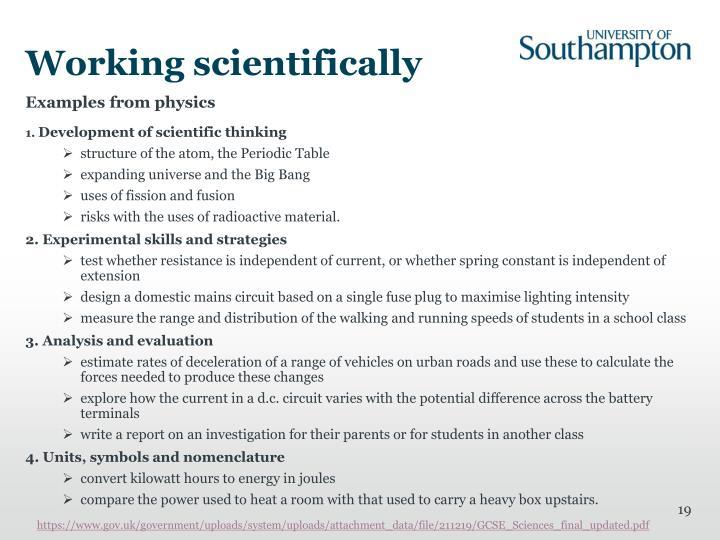 Working scientifically