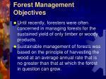forest management objectives