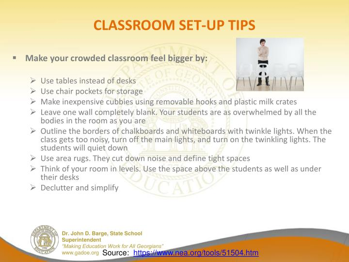 CLASSROOM SET-UP TIPS