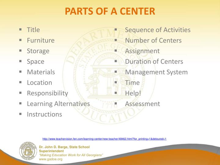 PARTS OF A CENTER