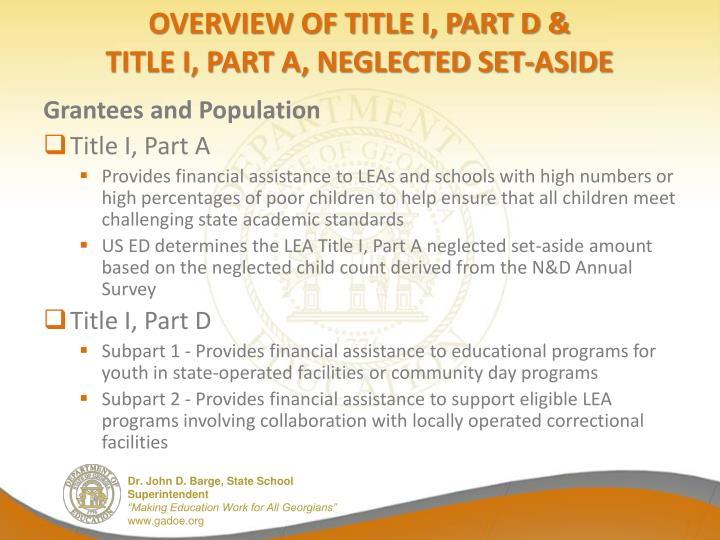 Overview of title I, Part d &