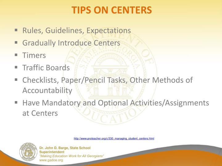 TIPS ON CENTERS