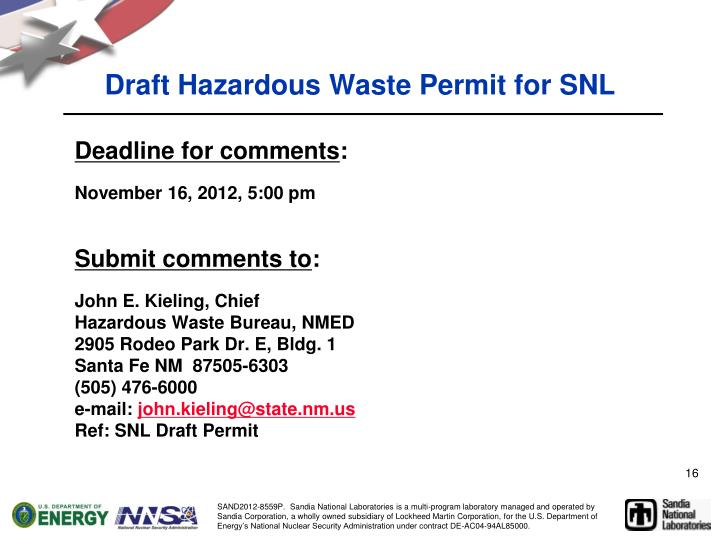 Draft Hazardous Waste Permit for
