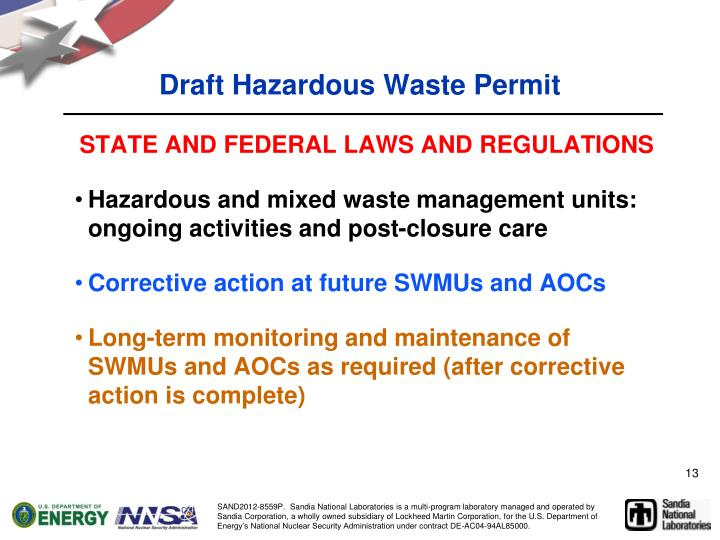 Draft Hazardous Waste Permit