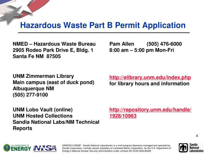 Hazardous Waste Part B Permit Application