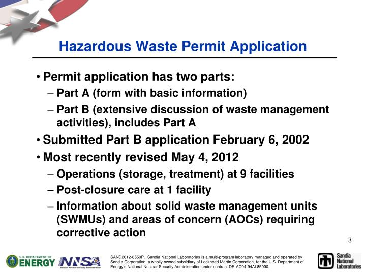 Hazardous waste permit application