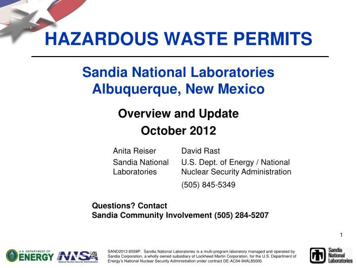 Hazardous waste permits sandia national laboratories albuquerque new mexico