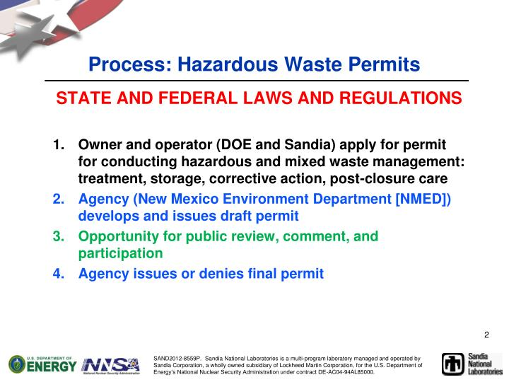 Process hazardous waste permits