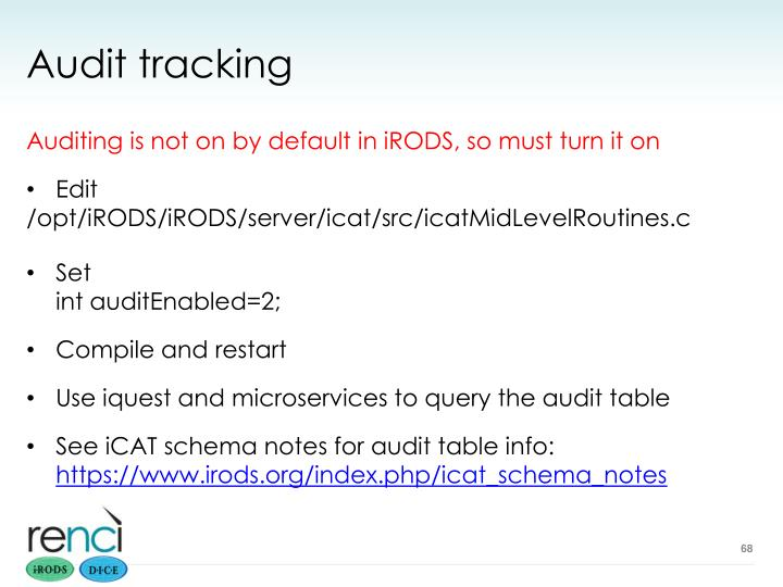 Audit tracking