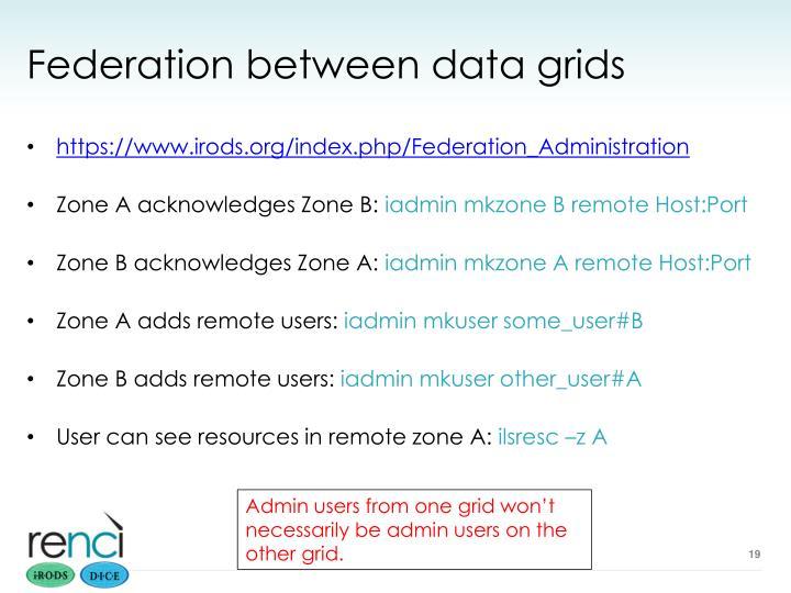 Federation between data grids