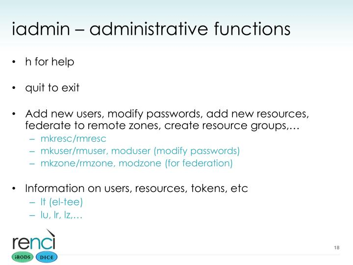 iadmin – administrative functions