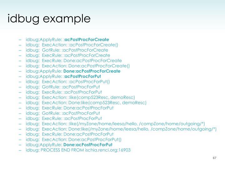 idbug example