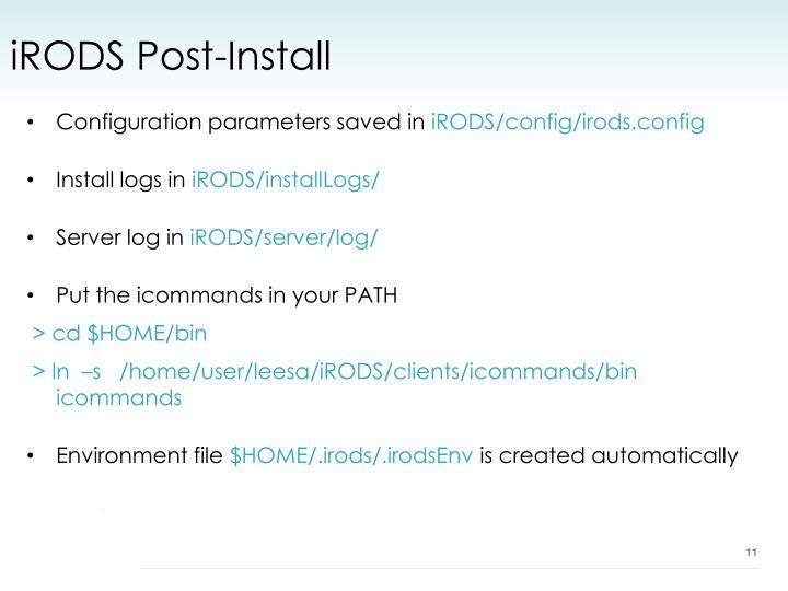 iRODS Post-Install