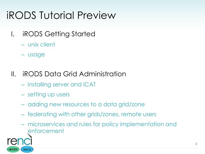 Irods tutorial preview
