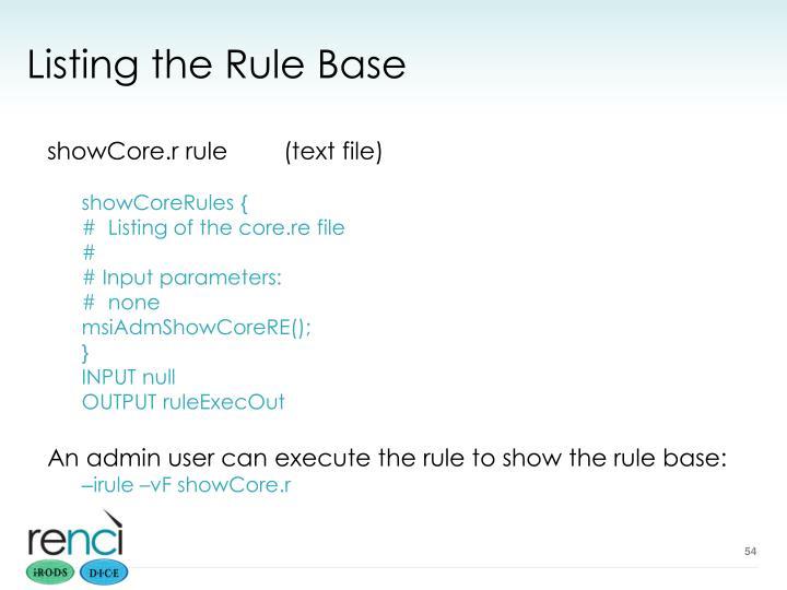 Listing the Rule Base