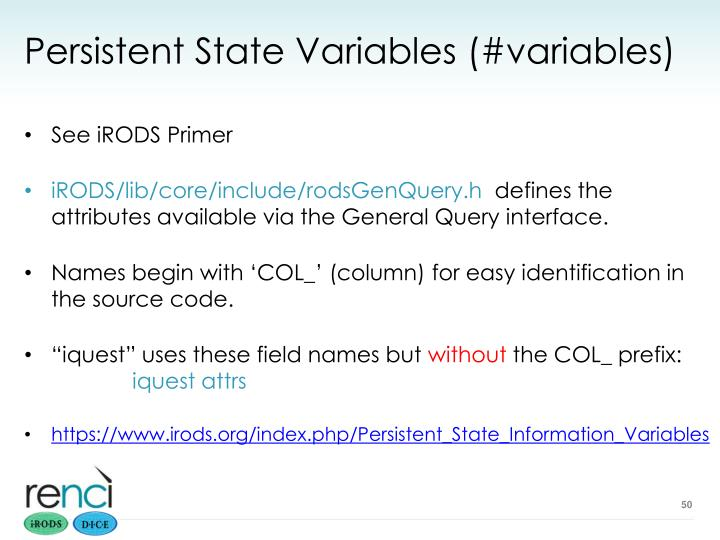 Persistent State Variables (#variables)