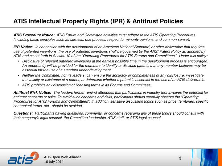 Atis intellectual property rights ipr antitrust policies