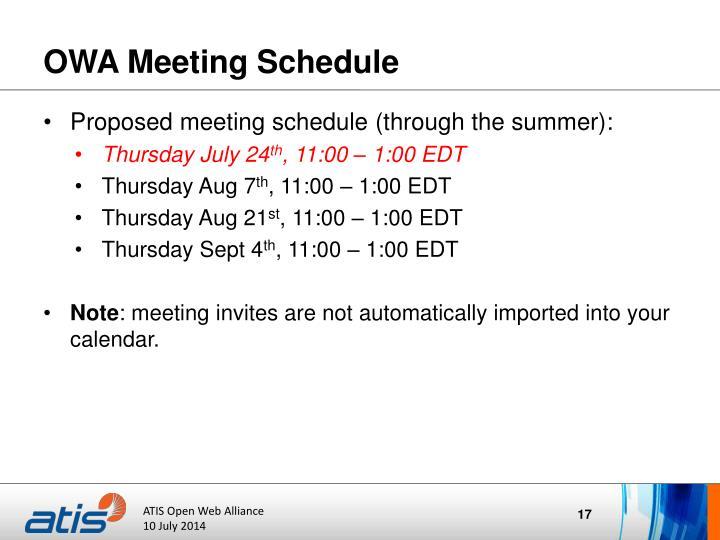 OWA Meeting Schedule