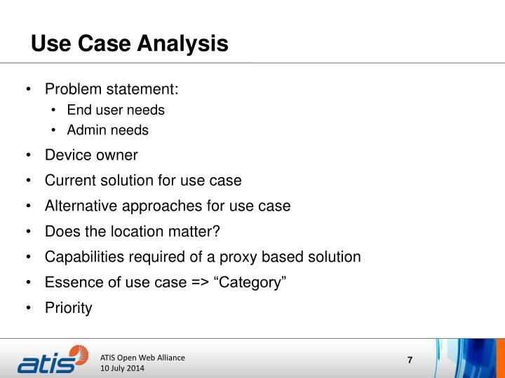 Use Case Analysis