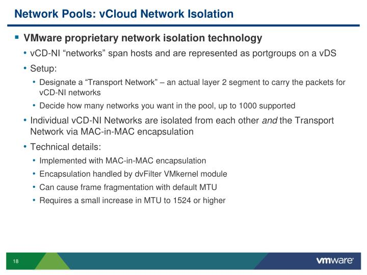 Network Pools: vCloud Network Isolation
