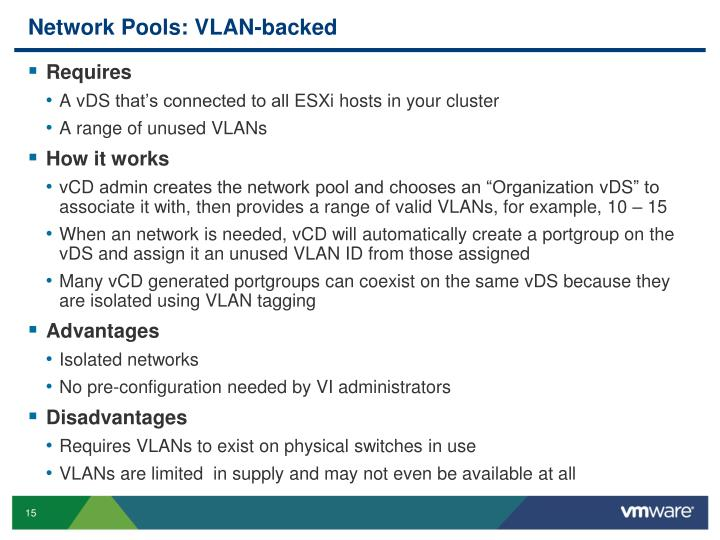 Network Pools: VLAN-backed