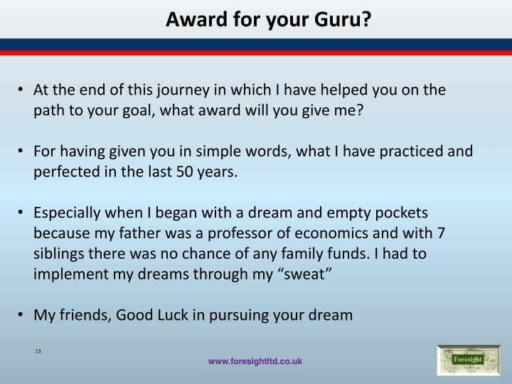 Award for your Guru?