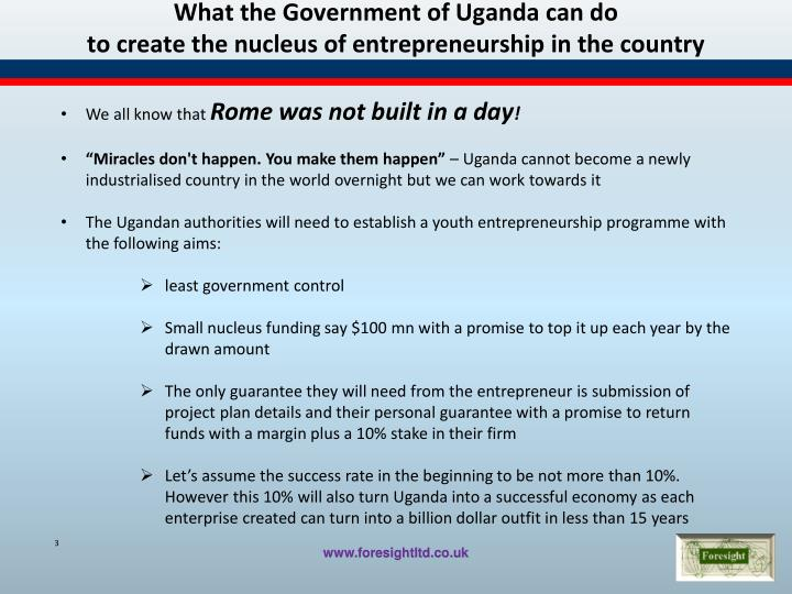 What the government o f uganda can do to create the nucleus of entrepreneurship in the country