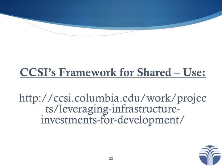 CCSI's Framework for Shared – Use: