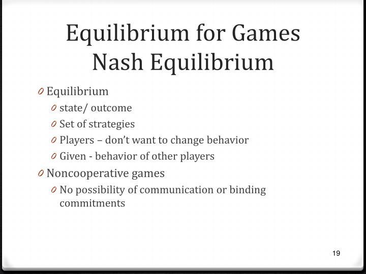 Equilibrium for Games
