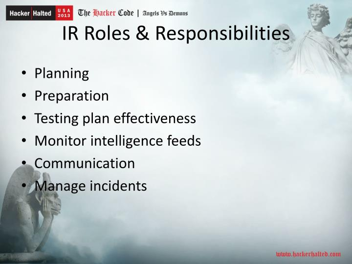 IR Roles & Responsibilities