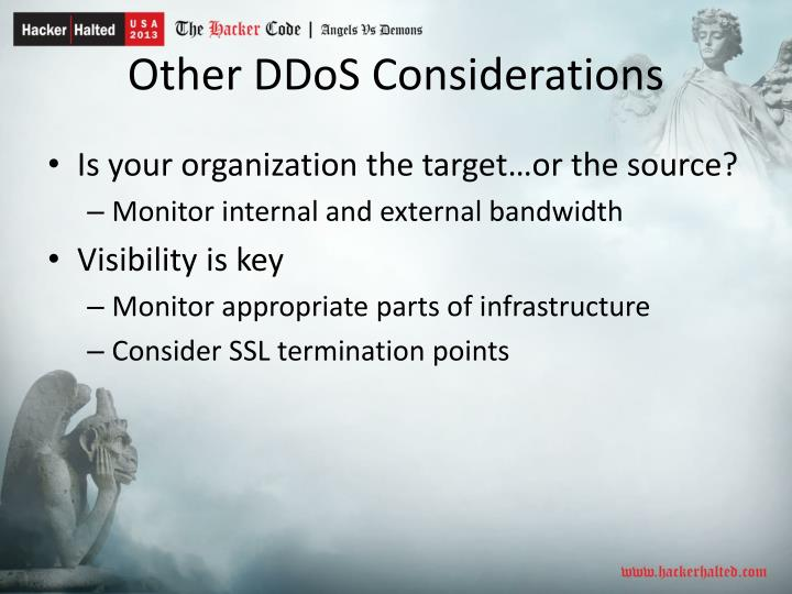 Other DDoS Considerations