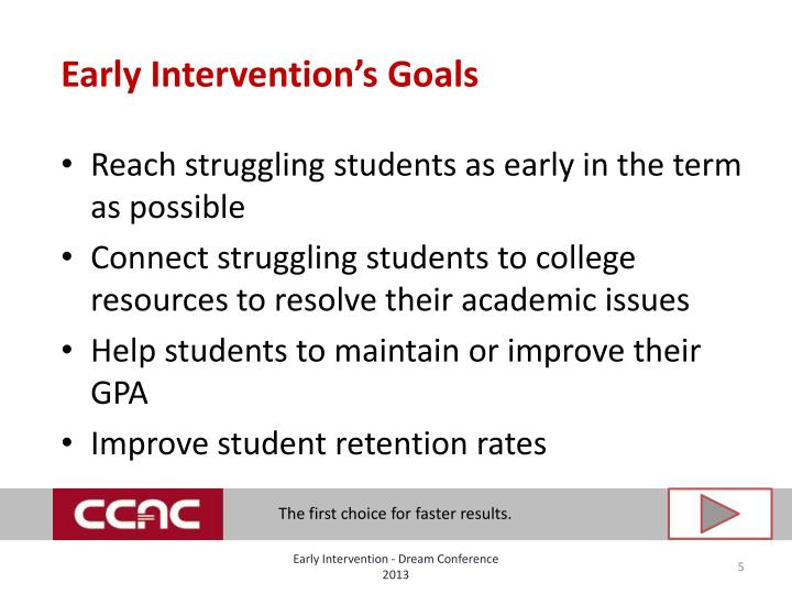 Early Intervention's Goals