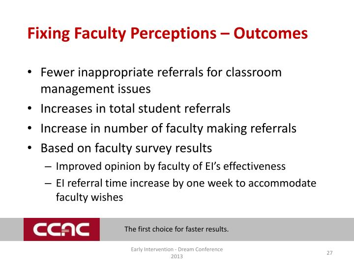 Fixing Faculty Perceptions – Outcomes
