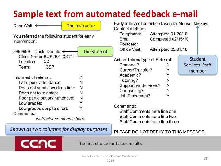 Sample text from automated feedback