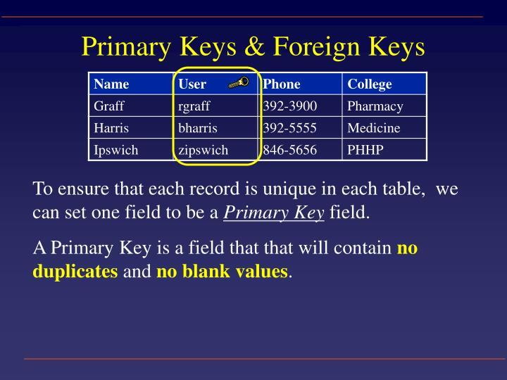 Primary Keys & Foreign Keys