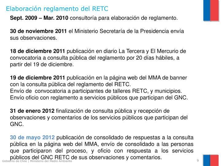 Elaboración reglamento del RETC