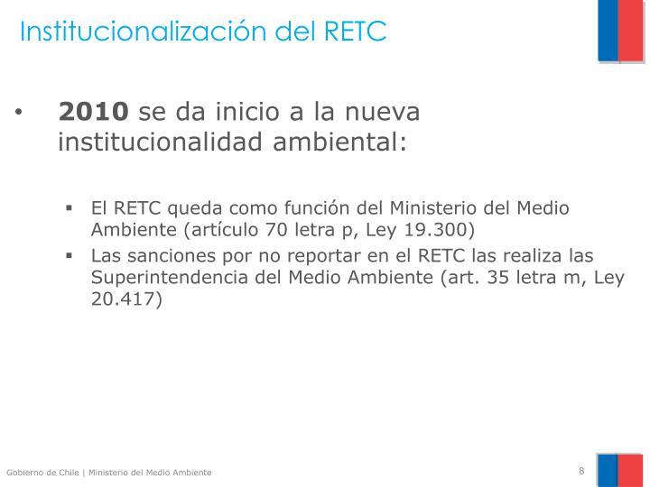 Institucionalización del RETC