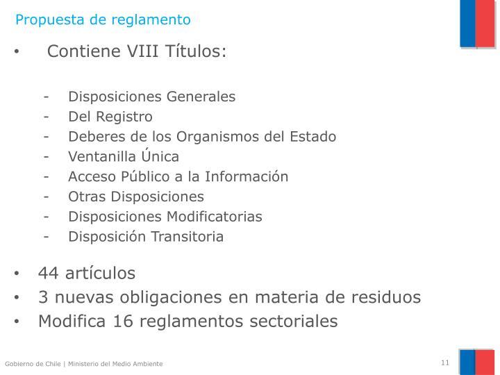 Propuesta de reglamento