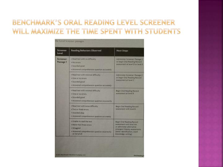 Benchmark's Oral Reading Level Screener will maximize the time spent with students