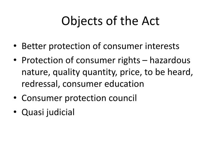 Objects of the act