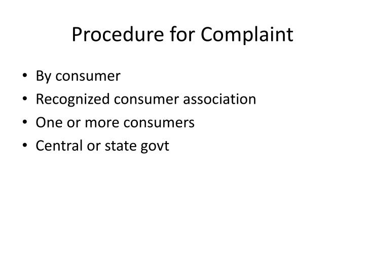 Procedure for Complaint