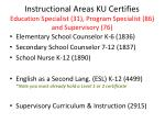 instructional areas ku certifies education specialist 31 program specialist 86 and supervisory 76