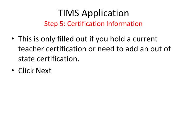 TIMS Application