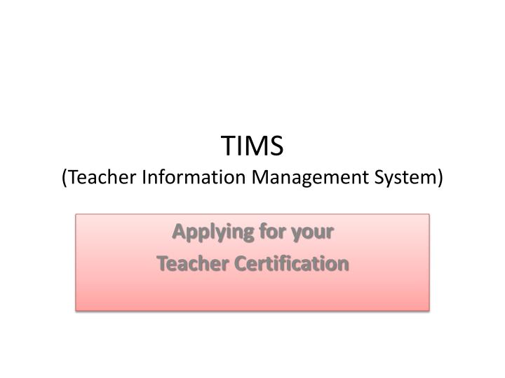 Tims teacher information management system