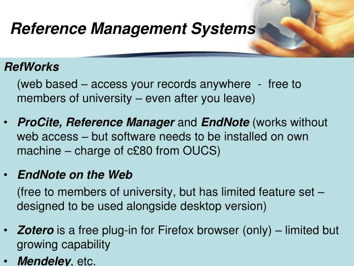 Reference Management Systems