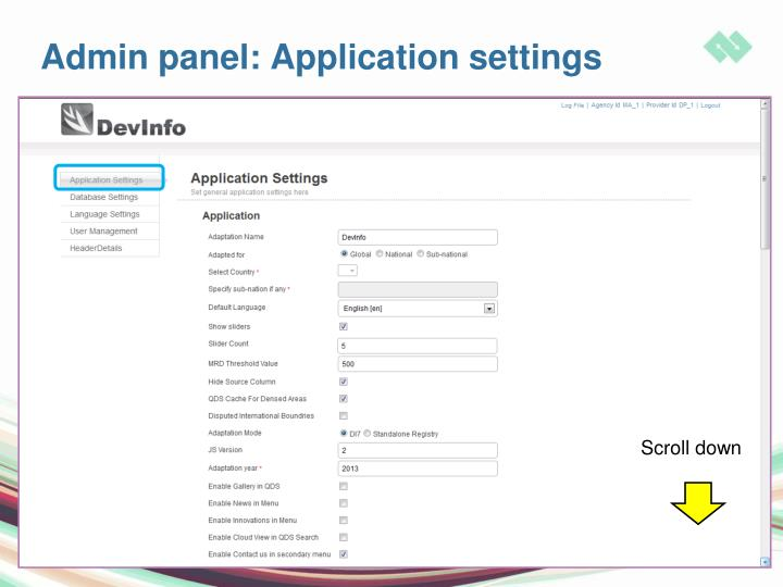 Admin panel: Application settings