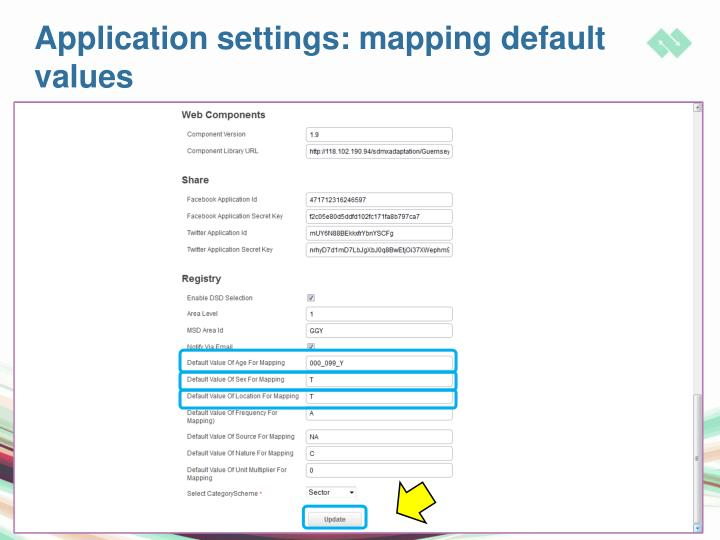 Application settings: mapping default values