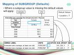 mapping of subgroup defaults