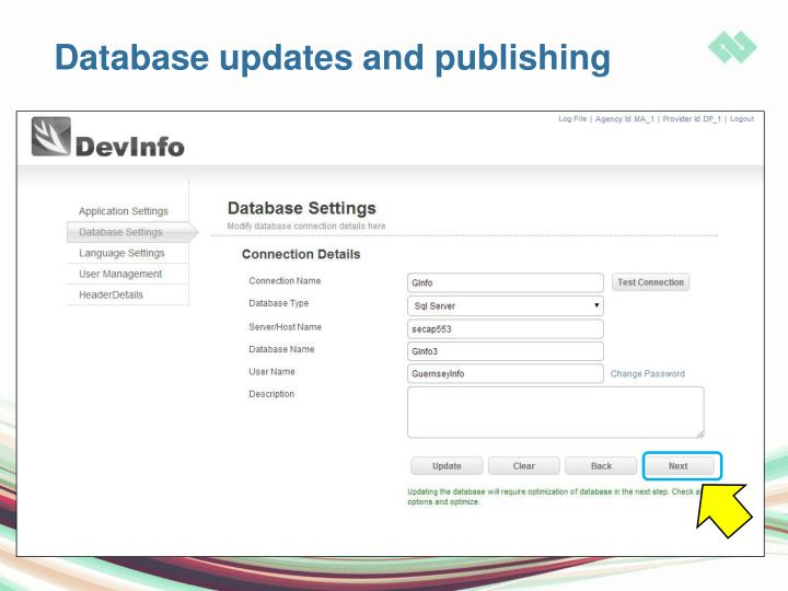Database updates and publishing